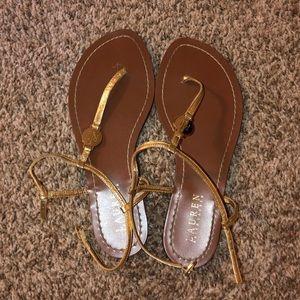 ralph lauren gold sandals never worn